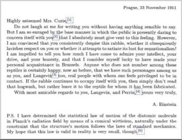 Carta de Einstein a Sklodowska